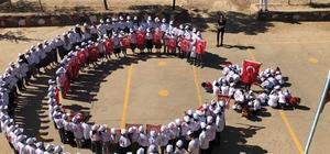 15 Temmuz tişörtü giyen öğrenciler, Türk bayrağı figürü oluşturdu