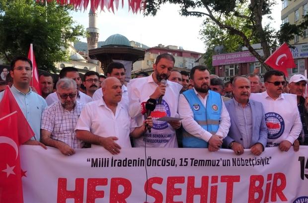 """Memur-Sen'den 15 Temmuz açıklaması Memur-Sen Bursa İl Temsilcisi: """"Türkiye'nin entelektüel birikimi ve bu coğrafyanın erdemliler hareketi olarak emperyalizmin her türlü kirli plan ve kumpaslarına yüksek bir bilinç, akıl ve imanla karşı koyacağız"""""""