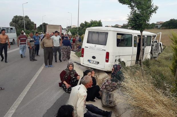 Tarım işçilerinin can pazarı: 17 yaralı Çanakkale'de traktörle işçi minibüsü çarpıştı: 2'si ağır 17 yaralı