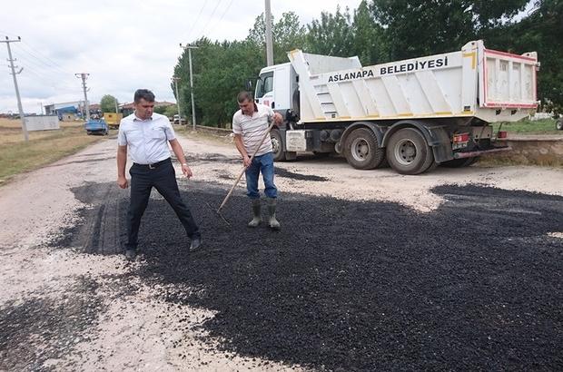 Aslanapa sanayi sitesi yolu asfalt çalışmaları