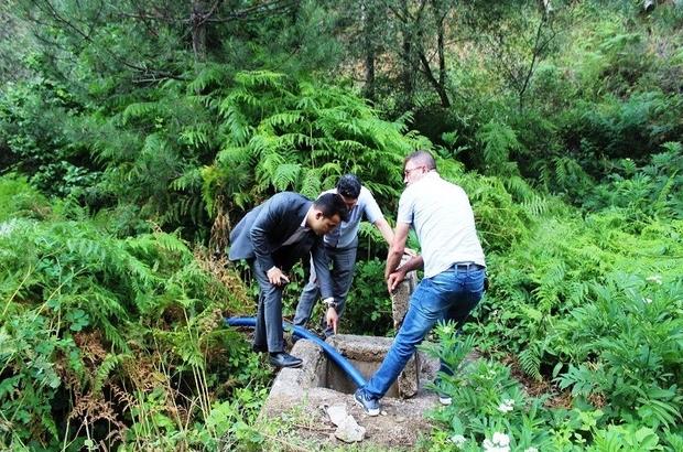 Köy içme suyu kaynağında bakım onarım çalışması
