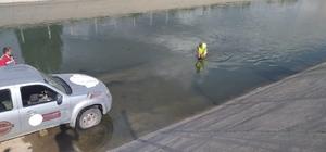 Sulama kanalına düşen köpek kurtarıldı