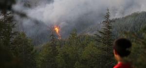 Kaş'taki yangını söndürme çalışmaları devam ediyor