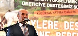 """Kemalpaşalı üreticiye 126 küçükbaş hayvan hibesi """"Çocuklarımız 'babam gibi çiftçi olmak istiyorum' desin"""" İzmir Büyükşehir Belediyesi Kemalpaşa ilçesindeki 32 üreticiye toplam 126 adet küçükbaş hayvan hibe etti"""