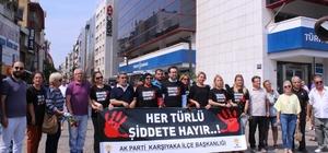 AK Parti Karşıyaka'dan, kadına şiddete 'güllü' protesto