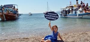 Urla'da orkinos çiftliklerine karadan ve denizden eylem