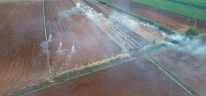 Sorumsuz çiftçiler anızları yakıyor Adana'da sorumsuz bir çiftçinin anızları yakması havadan görüntülendi