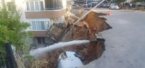 İstinat duvarı çöktü, otomobil altında kaldı