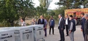Tosya'da Suluca ve Çifter köylerine çöp konteynırı teslim edildi