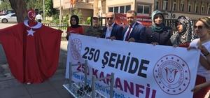 Muş Selcen Hatun Mesleki ve Teknik Anadolu Lisesi öğretmen ve öğrencileri, 250 şehit adına 250 karanfil dağıttı