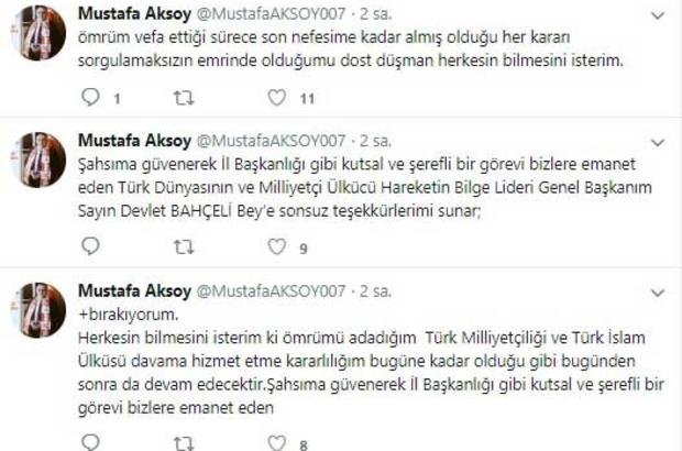 """MHP Antalya İl Başkanı Aksoy görevinden istifa etti Mustafa Aksoy: """"Liderimiz Devlet Bahçeli'nin takdiri ve sağlık sorunlarım nedeniyle görevi bırakıyorum"""""""