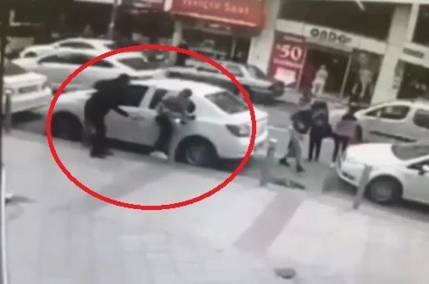 Sokak ortasında silahlı saldırı güvenlik kamerasında