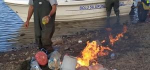 Bolu'da Taşlıyayla Göleti'nde 500 metre hayalet ağ bulundu