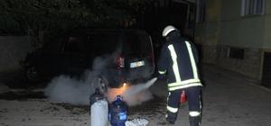 Erken fark edilen yangın, otomobilin tamamen yanmasını engelledi