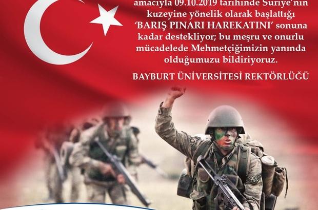 Bayburt Üniversitesi'nden Barış Pınarı Harekatına tam destek