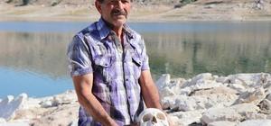(Özel) Kayseri'de tüyler ürperten görüntü Baraj suyu çekildi, mezarlıktaki iskeletler ve kafatasları etrafa saçıldı