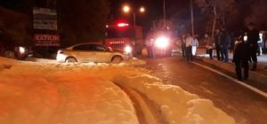 Kimyasal sanılan köpük panik yaşattı Mahallede gece saatlerinde kimyasal köpük paniği Köpükler bir anda caddeyi sardı