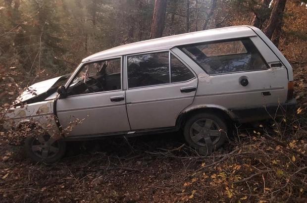 Yoldan çıkan otomobil ağaçlık alana uçtu: 1 yaralı