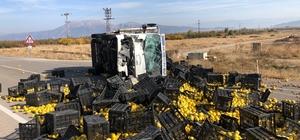 Isparta'da ayva yüklü kamyon devrildi: 1'i ağır, 5 yaralı Ayva yüklü kamyon minibüsle çarpışarak devrildi, kasadaki meyveler telef oldu