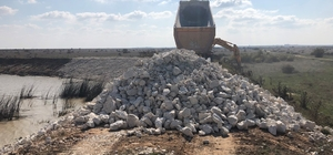 Hayvanlar için göletlere 4 bin 600 ton rip-rap taşı alındı