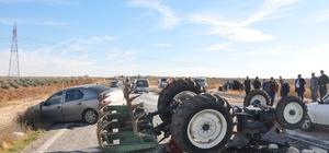 Zincirleme kazada traktör takla attı: 1 yaralı Kazada traktör takla atarken otomobillerden biri mısır tarlasına diğeri ise yol kenarındaki kanala girdi
