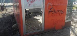 Magandalar şehir mobilyalarına zarar verdi