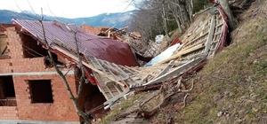 Çaykara ilçesinde önce yangın sonra fırtına hasara yolaçtı