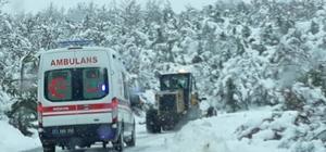 Köy yolu kapandı, hastanın imdadına İl Özel İdaresi yetişti