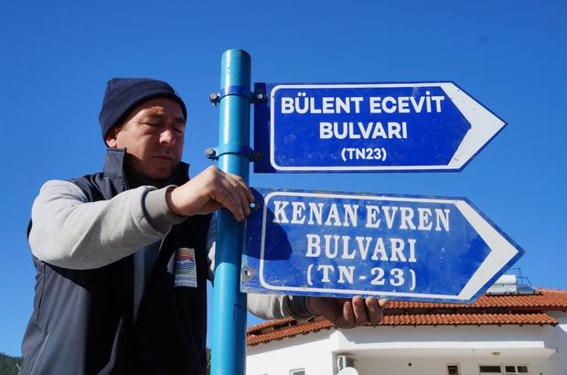 Marmaris'te 'Evren' gitti, 'Ecevit' geldi Marmaris'te Kenan Evren'in ismi tabeladan kaldırıldı