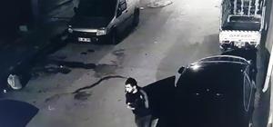 Oto hırsızı kamerada Oto hırsızı şüphelisi kısa süre içerisinde yakalandı