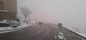 Kulp'ta kar yağışının ardından sis etkili oldu