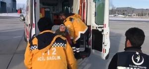 Yol kardan kapandı, hamile kadının imdadına ambulans helikopter yetişti