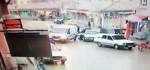 Savrulan kamyonet, yakıt dolduran 2 kişiye çarptı Çarpışan kamyonetlerden birinin savrulup 2 kişiye çarptığı anlar kamerada
