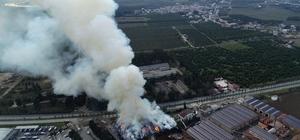 Adana'da fabrika yangını 15 saattir söndürülemedi Pamuk yağı fabrikasındaki yangın drone ile görüntülendi