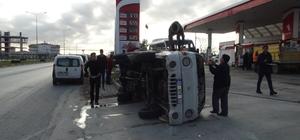 Otomobile çarpan kamyonet, devrilerek 30 metre sürüklendi Kazada 1 kişi yaralandı