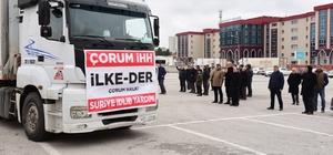 """Çorum İHH'dan İdlib'e 16 tır yardım İHH Çorum Şube Başkanı Selim Özkabakçı; """"İdlib'de insanlık her geçen gün ölüyor"""""""