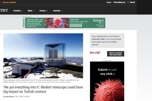 Doğu Anadolu Gözlemevi, saygın bilim dergilerinden Science'da yer aldı