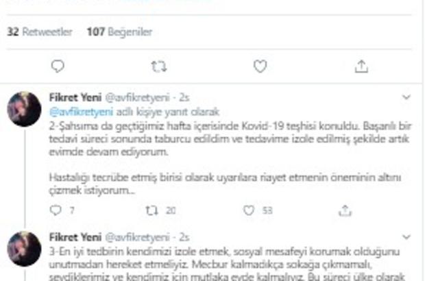 Eski AK Parti İl Başkanı Fikret Yeni, korona virüsü yendi