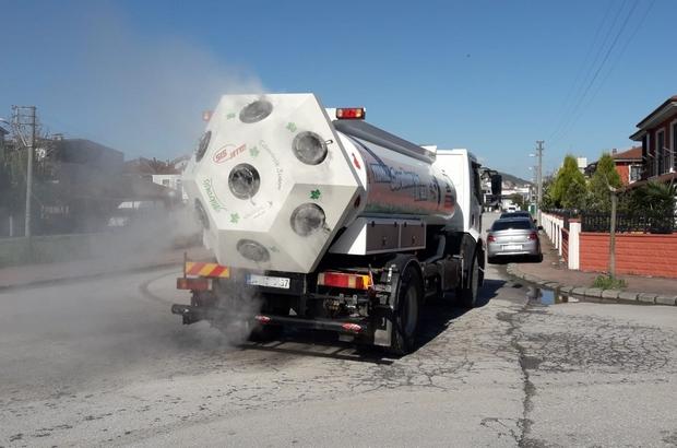 Serdivan'da 54 kilometre yol dezenfekte edildi