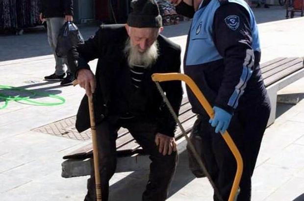 Tekkeköy'de sokağa çıkan yaşlılar evlerine götürüldü Yaşlı vatandaşa erzak veren zabıta görevlileri, onu evine kadar bıraktı