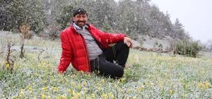 Çoban çiçekleri kar altında kaldı