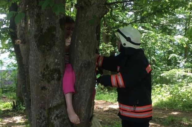 Bacağı ağacın gövdesine sıkışan Ravzanur'un yardımına itfaiye ekipleri yetişti