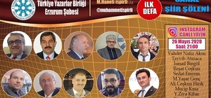 TYB Erzurum Şubesi 'Sanal Şiir Şöleni' ile bir ilke imza atıyor