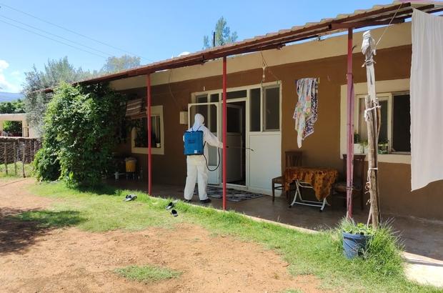 Karantinaya alınan evler dezenfekte edildi