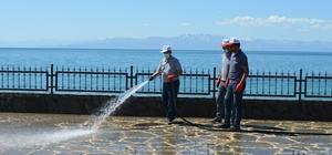 Adilcevaz Belediyesi ekipleri Van Gölü sahilini temizledi