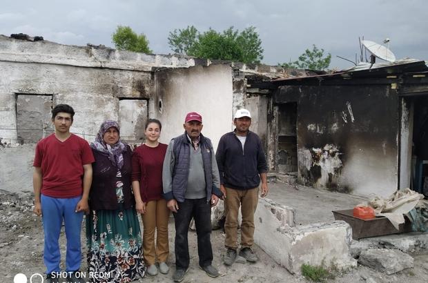 Evi yanan aile ortada kaldı