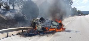Çeşme otoyolunda kaza: 2 kişi yanarak öldü Araçtan sıçrayan alevler, otları tutuştururdu