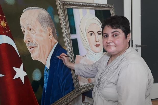 Cumhurbaşkanı Erdoğan'a portresini armağan etmek istiyor Hiçbir eğitim almadan çizdiği portreleri Cumhurbaşkanı Recep Tayyip Erdoğan ve eşi Emine Erdoğan'a hediye etmek istiyor