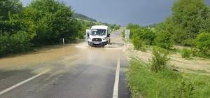 Dolu yağışı yolları beyaza bürüdü, tarlalar sular altında kaldı