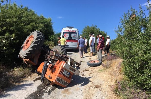 Milas'ta traktör devrildi; 1 yaralı